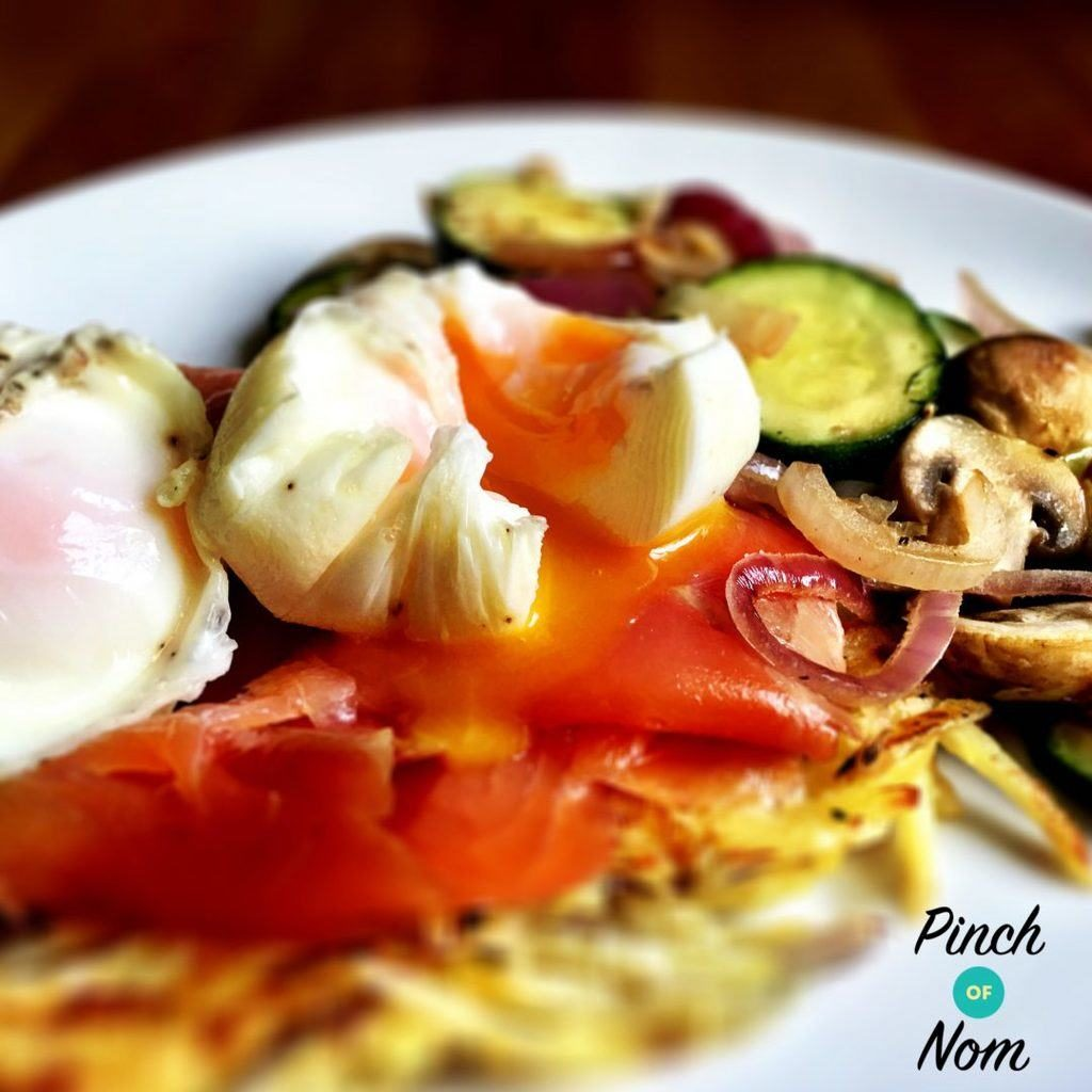 Smoked Salmon, Potato Rösti and Poached Eggs pinchofnom.com