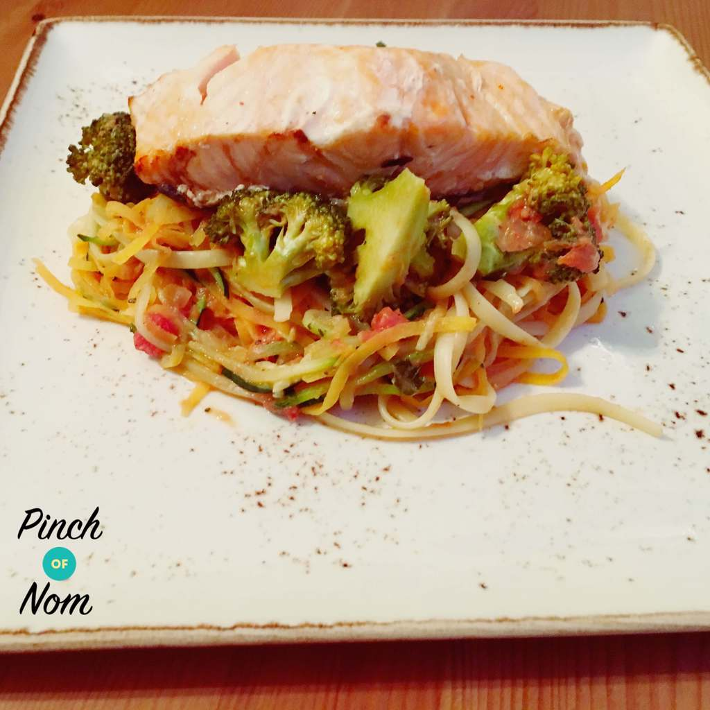 Low Syn Sweet Chilli Salmon with Linguini, Courgette and Sweet Potato Spaghetti | Slimming World