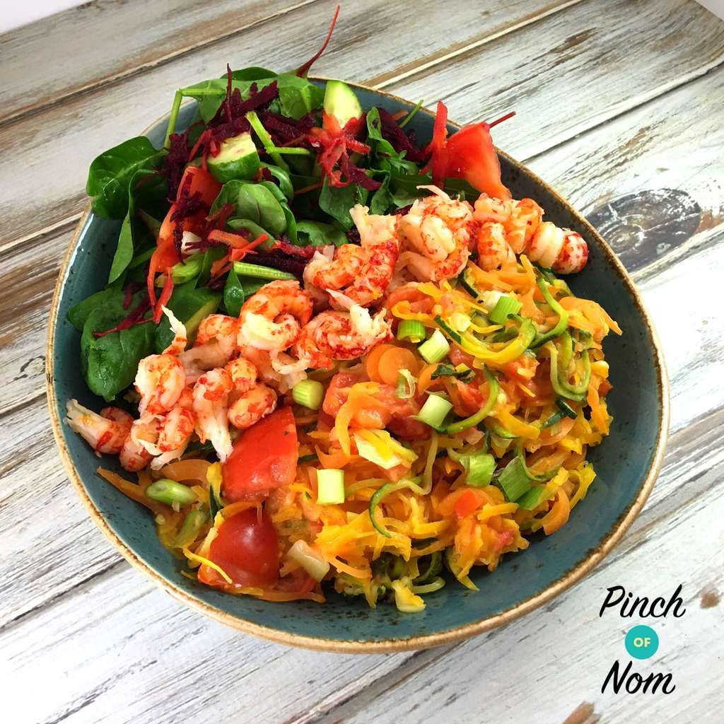 Syn Free Zesty Spiralized Vegetables With Fish Slimming World Friendly Recipe Pinch Of Nom
