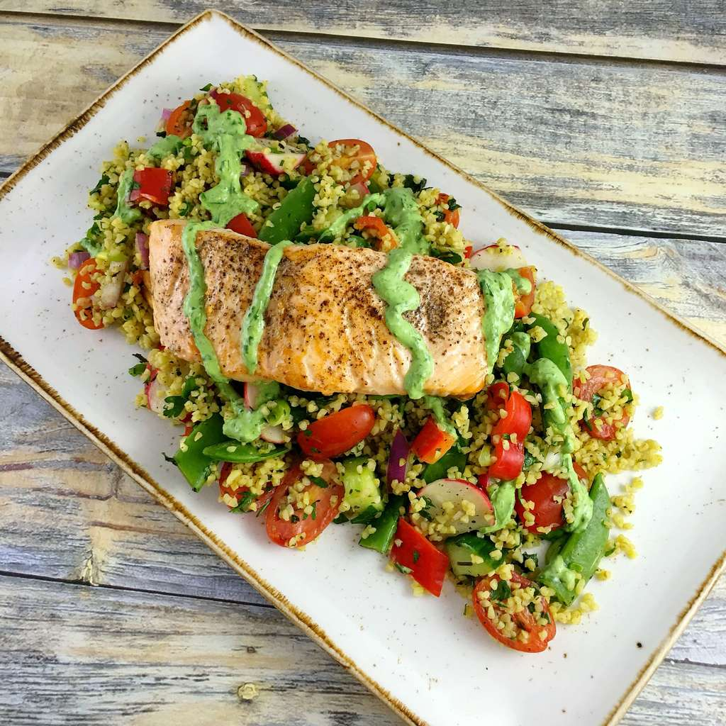 salmon-Tabbouleh-basil-yogurt-dressing