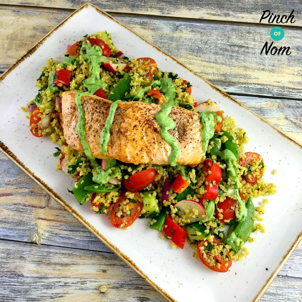 salmon-Tabbouleh-basil-lemon-yogurt-dressing