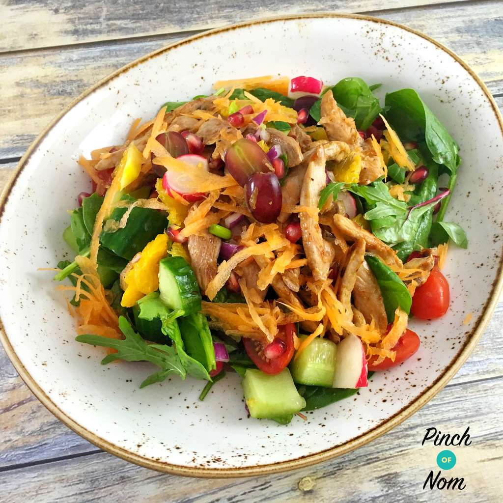 duck salad in bowl - Super Low Syn Sweet Chilli Duck Salad With Orange and Pomegranate | Slimming World