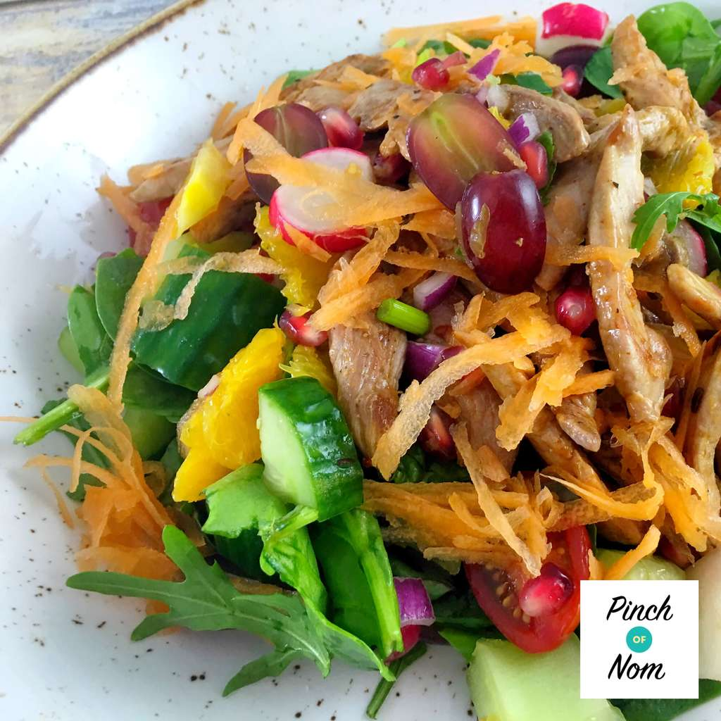 duck salad close up - Super Low Syn Sweet Chilli Duck Salad With Orange and Pomegranate | Slimming World