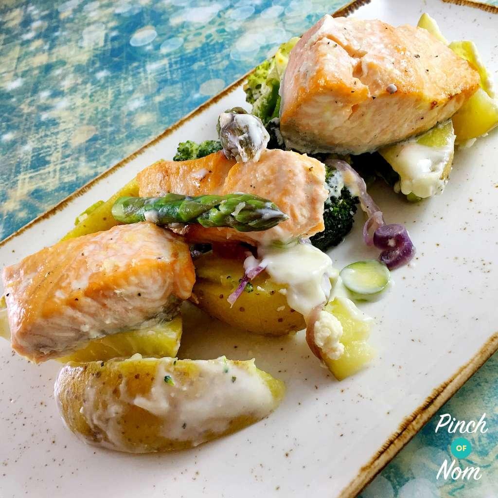 Salmon, Broccoli and Potato Bake pinchofnom.com