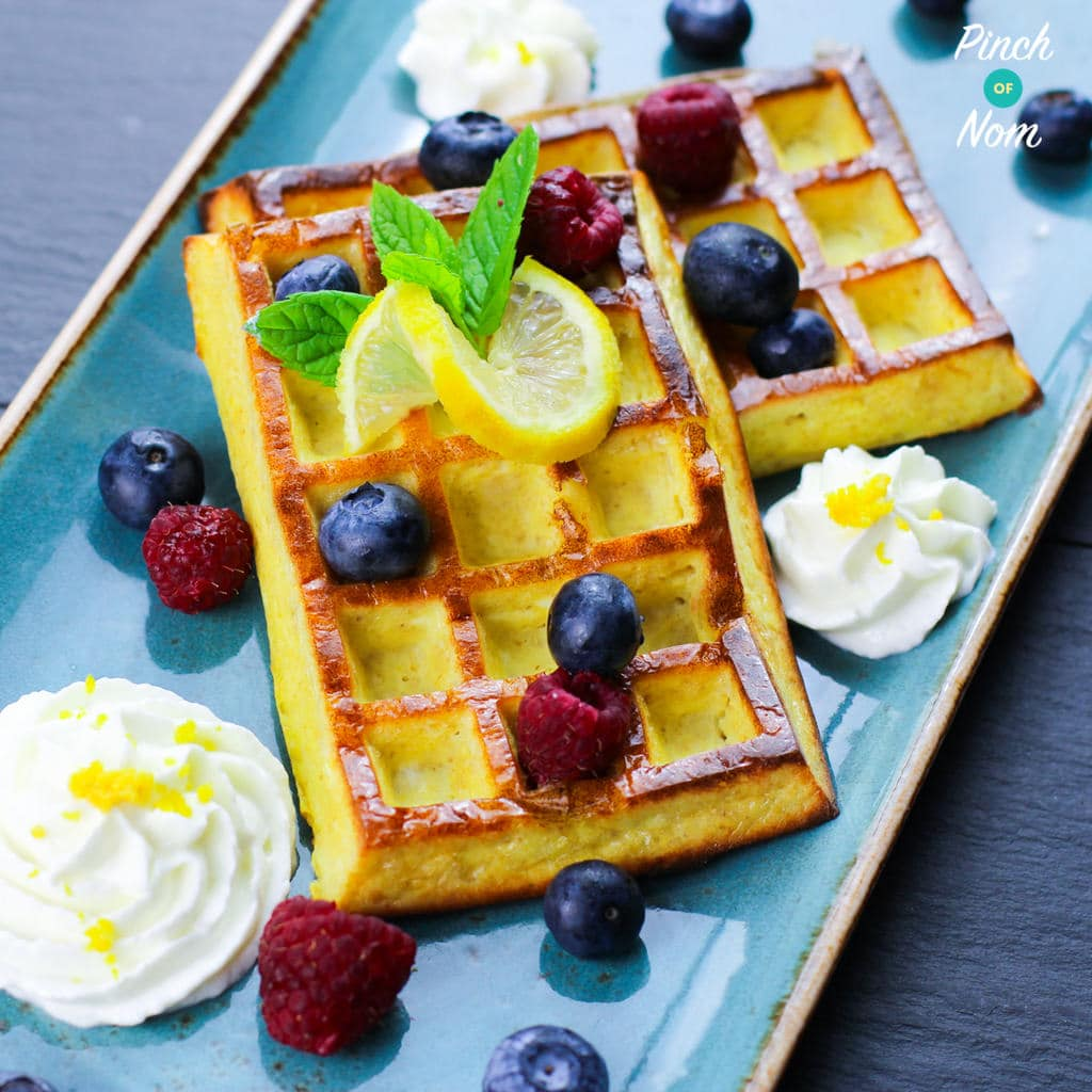 Lemon and Blueberry Waffles | Slimming & Weight Watchers Friendly