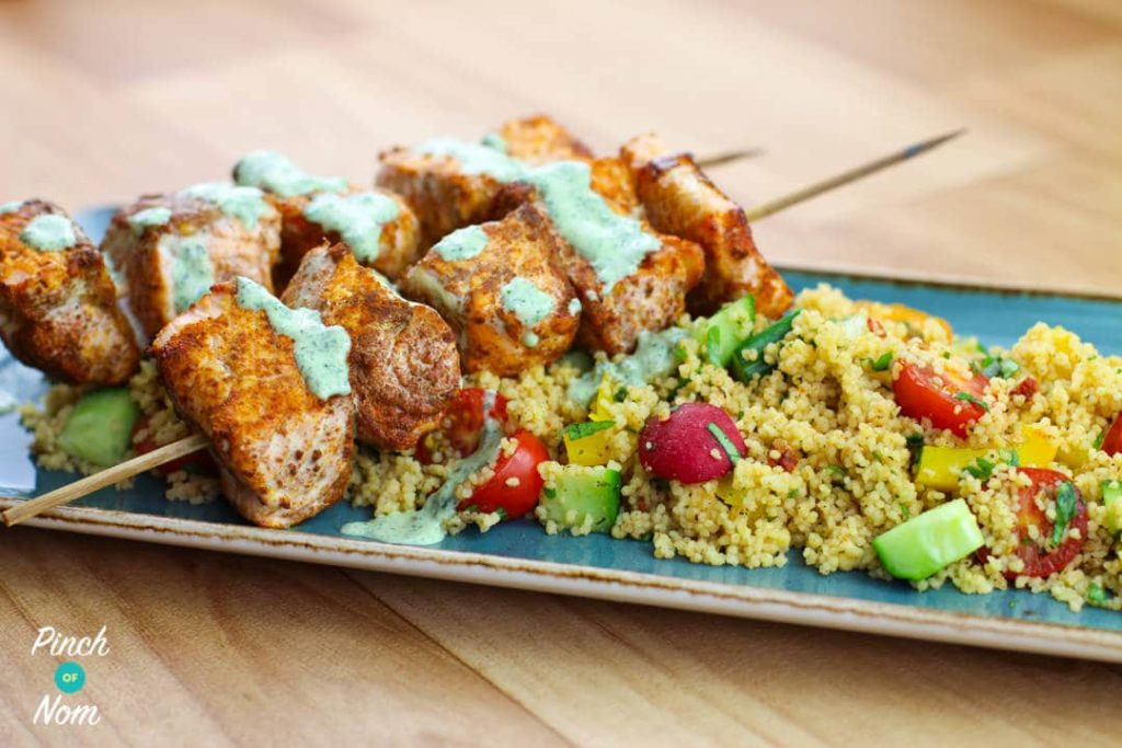 Moroccan Salmon Skewers with Cous Cous | Slimming & Weight Watchers Friendly