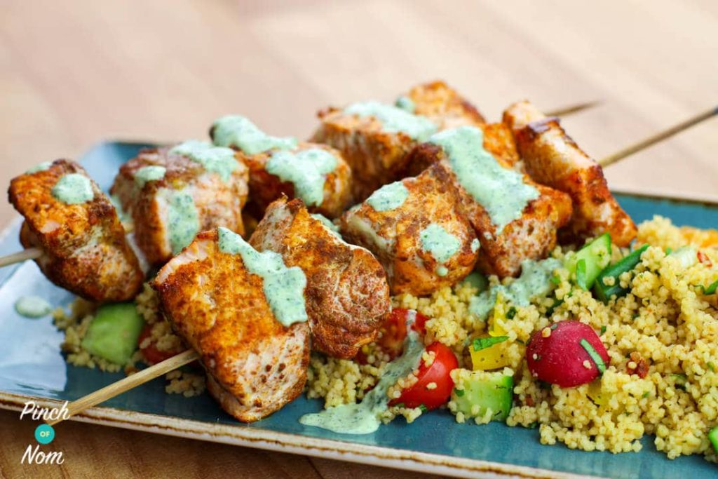 Moroccan Salmon Skewers with Cous Cous pinchofnom.com