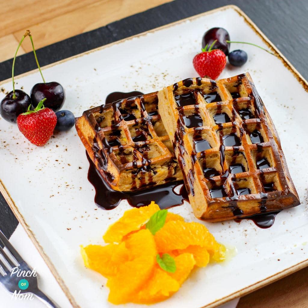 Chocolate Orange Waffles pinchofnom.com