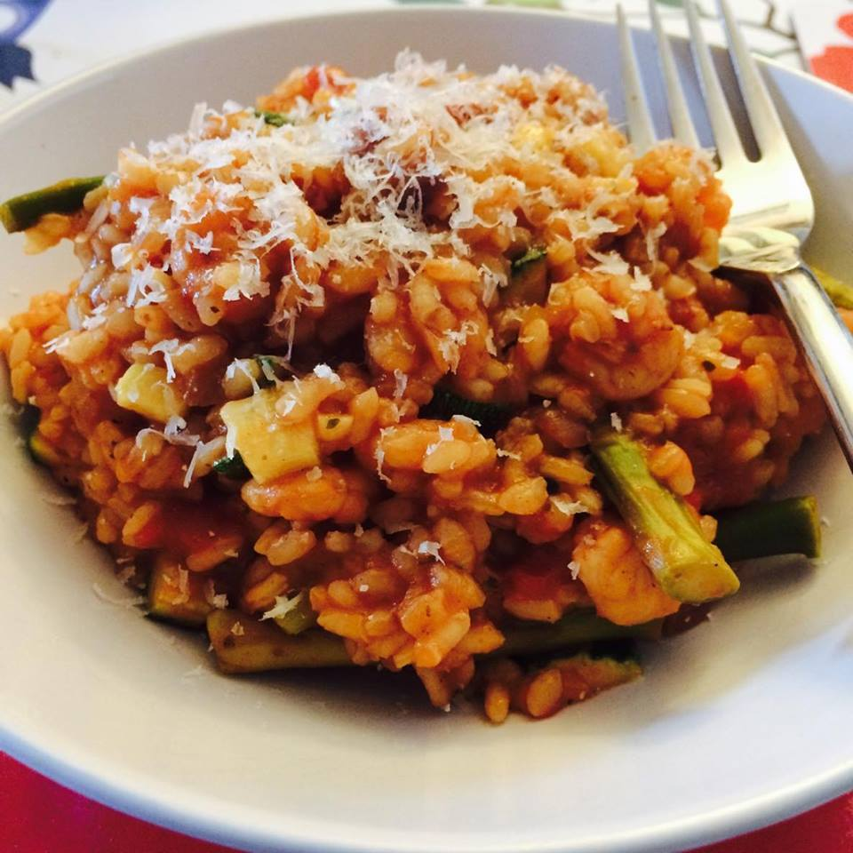 Syn Free Prawn and Asparagus Risotto | Slimming World on plate close up