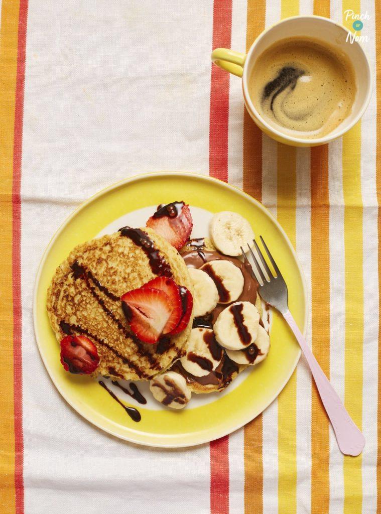 Banana and Chocolate Pancakes pinchofnom.com