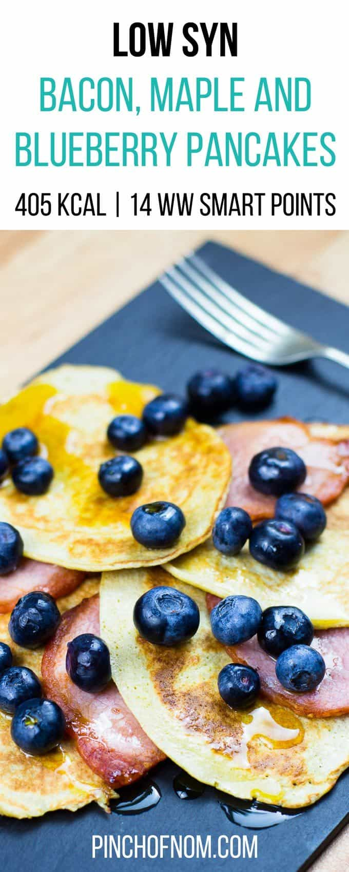 Bacon, Maple and Blueberry Pancakes | Slimming World & Weight Watchers Friendly