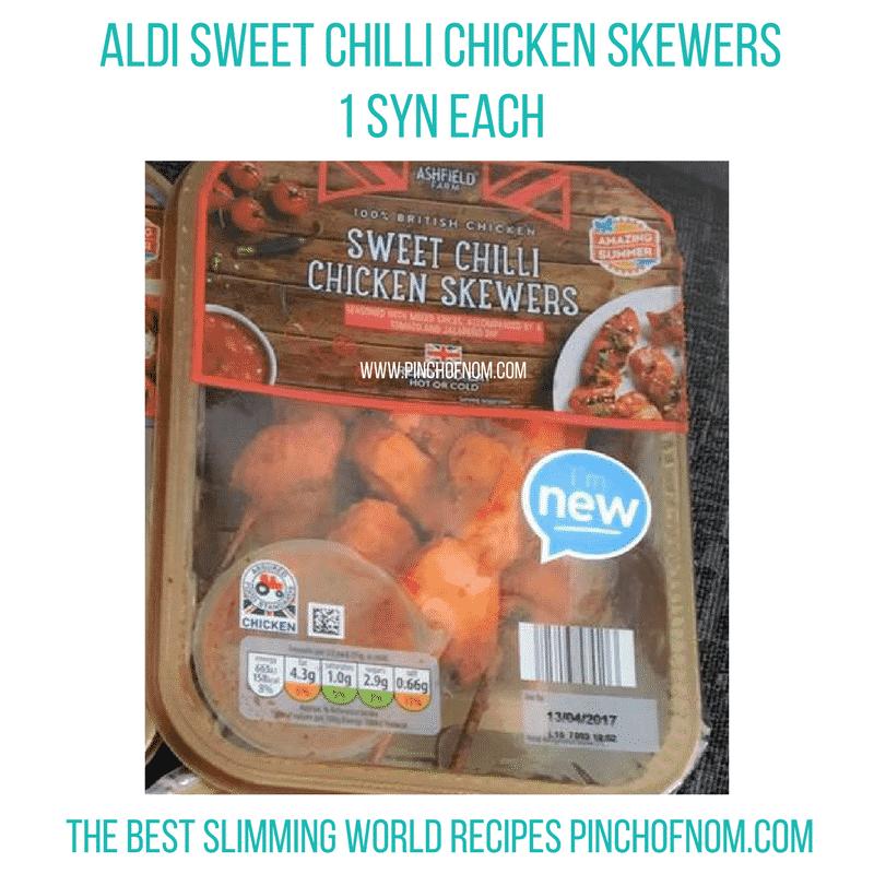 aldi sweet chilli skewers - New Slimming World Shopping Essentials - pinchofnom.com - April
