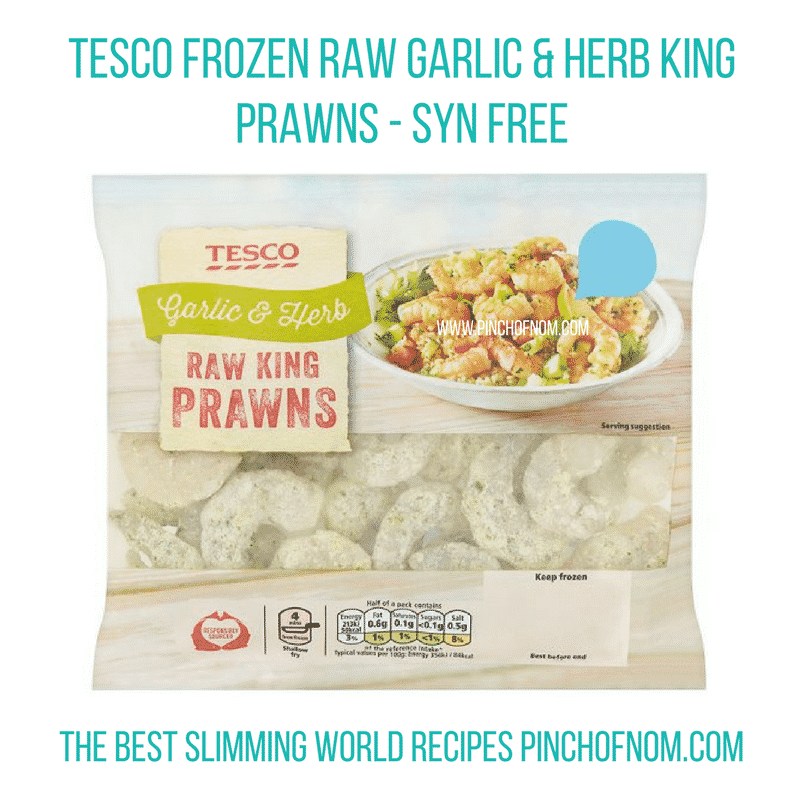 Tesco garlic and herb king prawns - New Slimming World Shopping Essentials - pinchofnom.com - April