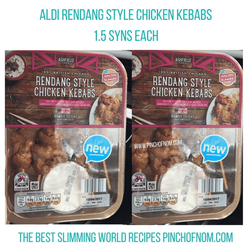 aldi rendang chicken skewers - New Slimming World Shopping Essentials - pinchofnom.com - April