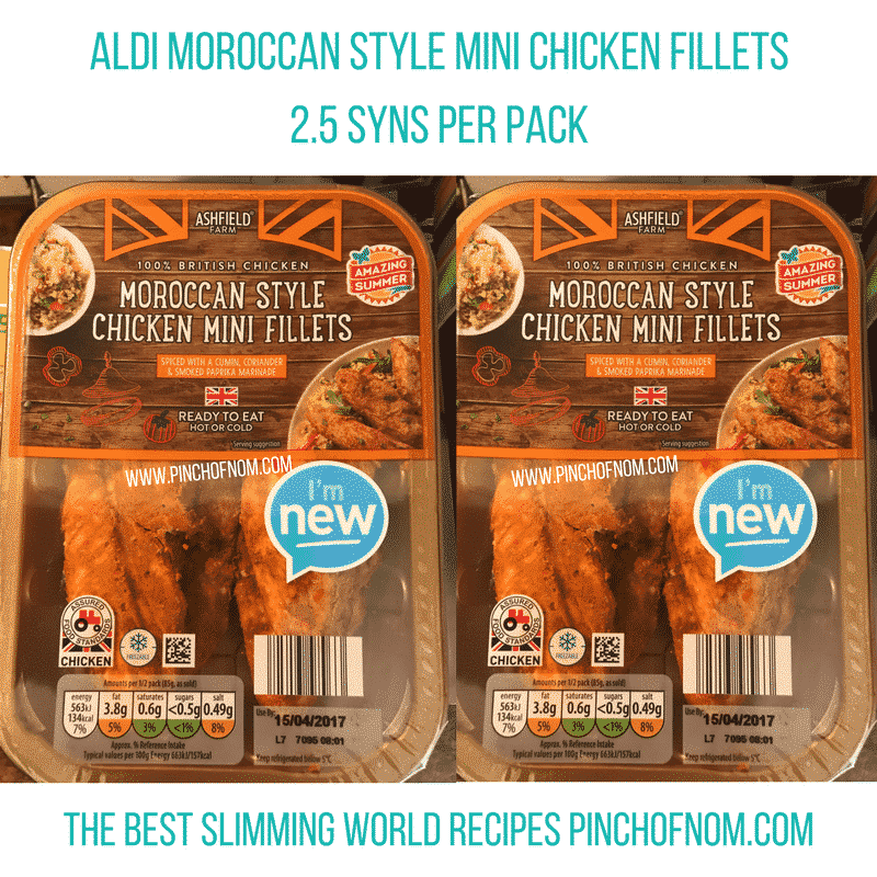 aldi moroccan chicken mini fillets - New Slimming World Shopping Essentials - pinchofnom.com - April