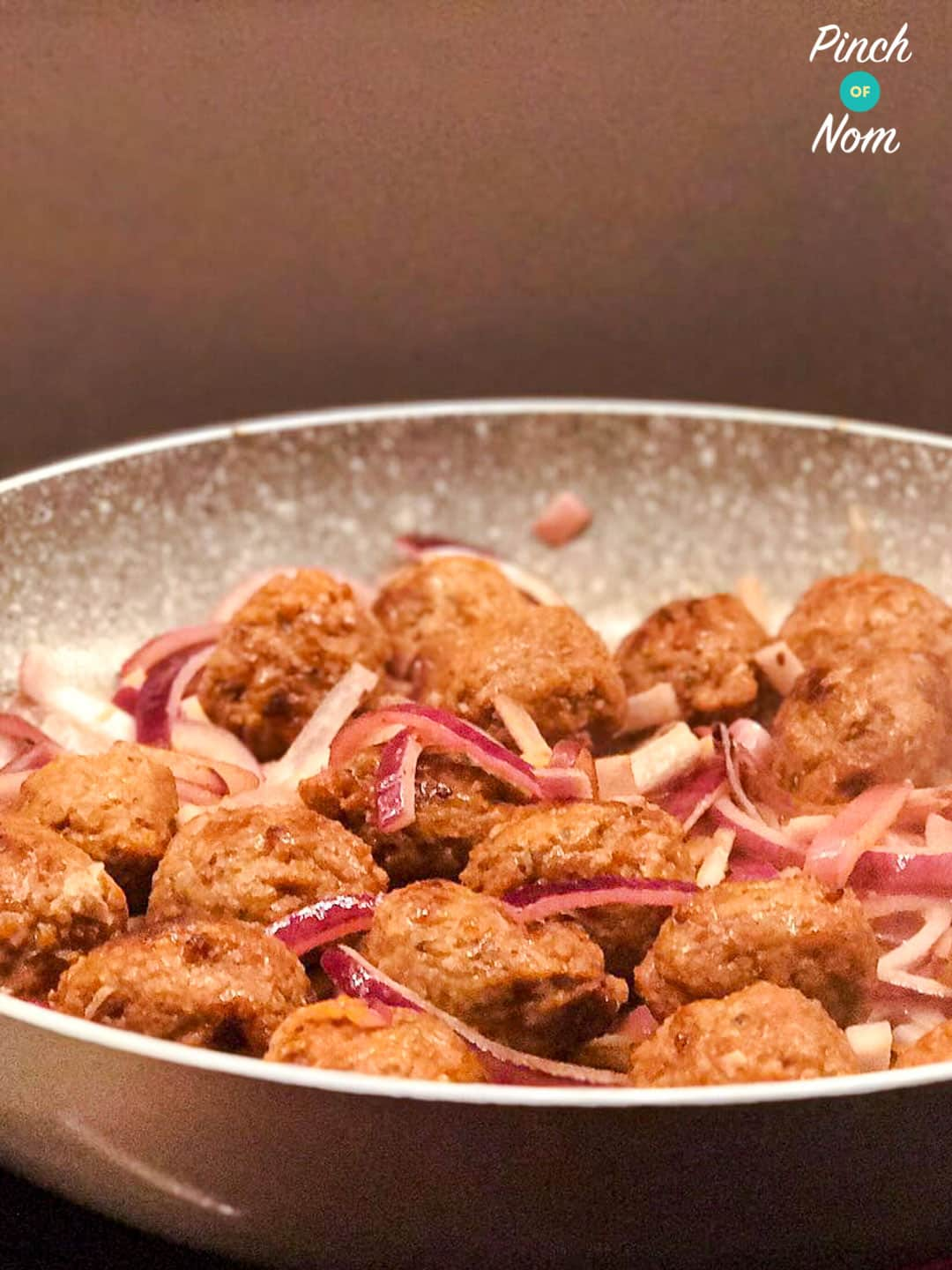 Veggie Meatballs with Onions and Mustard Sauce | Slimming & Weight Watchers Friendly