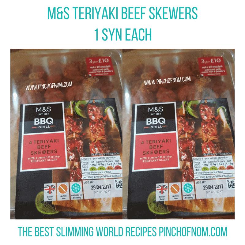 teriyaki beef kebabas - pinch of nom slimming world essentials