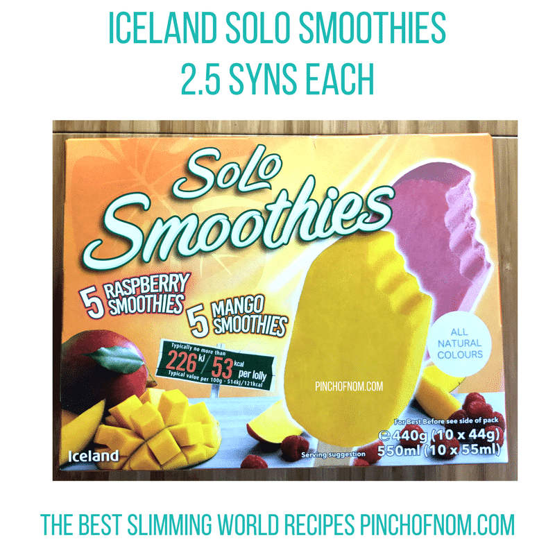 iceland solo smoothies - - pinch of nom slimming world shopping essentials may