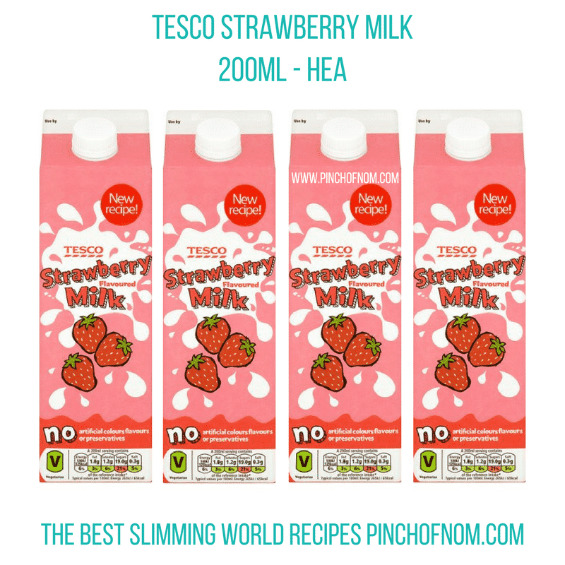 tesco strawberry milk - pinch of nom slimming world shopping essentials may