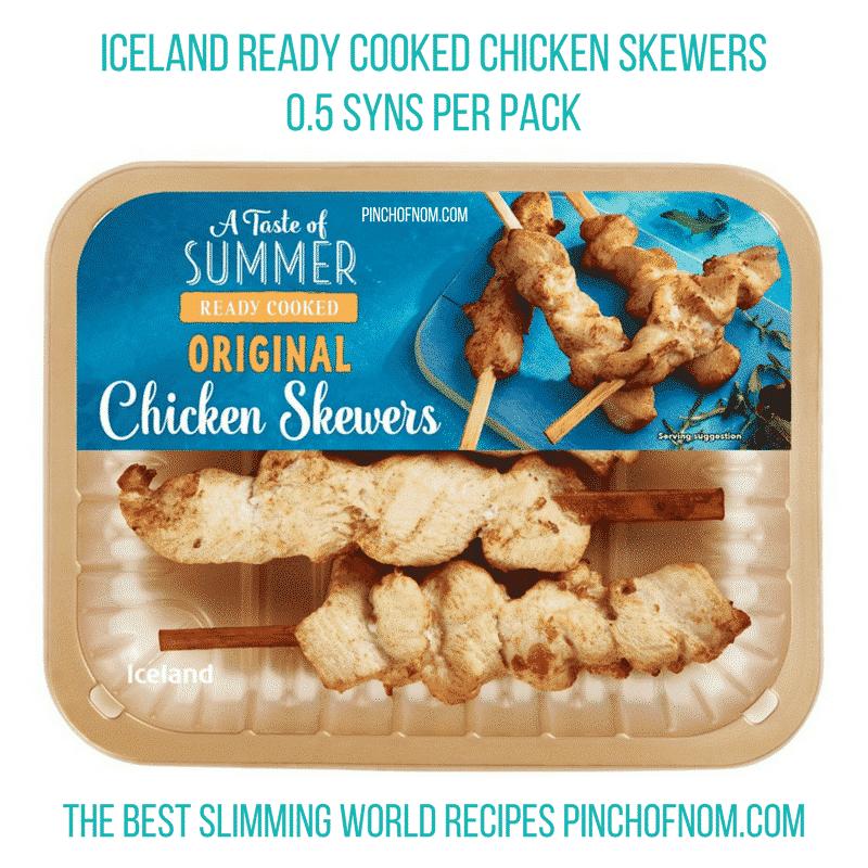 iceland plain chicken skewers - pinch of nom slimming world essentials may 2017