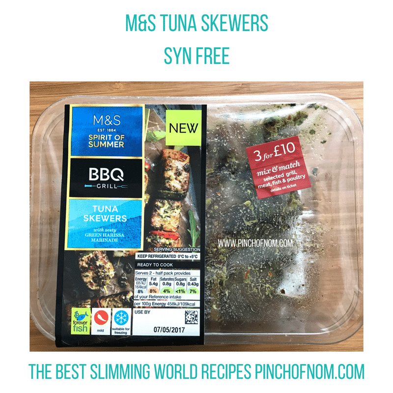 mands tuna skewers salmon flatties - pinch of nom slimming world shopping essentials may