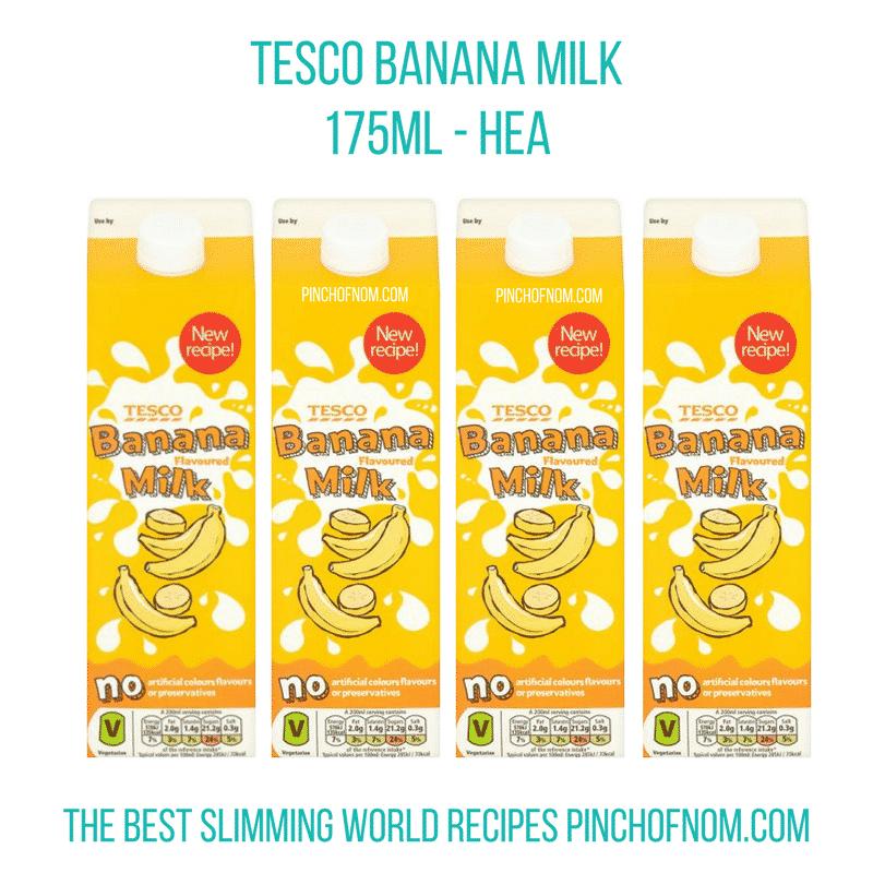 tesco banana milk - pinch of nom slimming world shopping essentials may