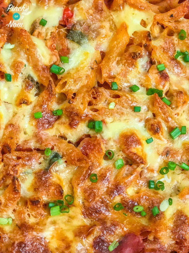Pasta Bake Close up - Syn Free Turkey Ratatouille Pasta Bake | Slimming World