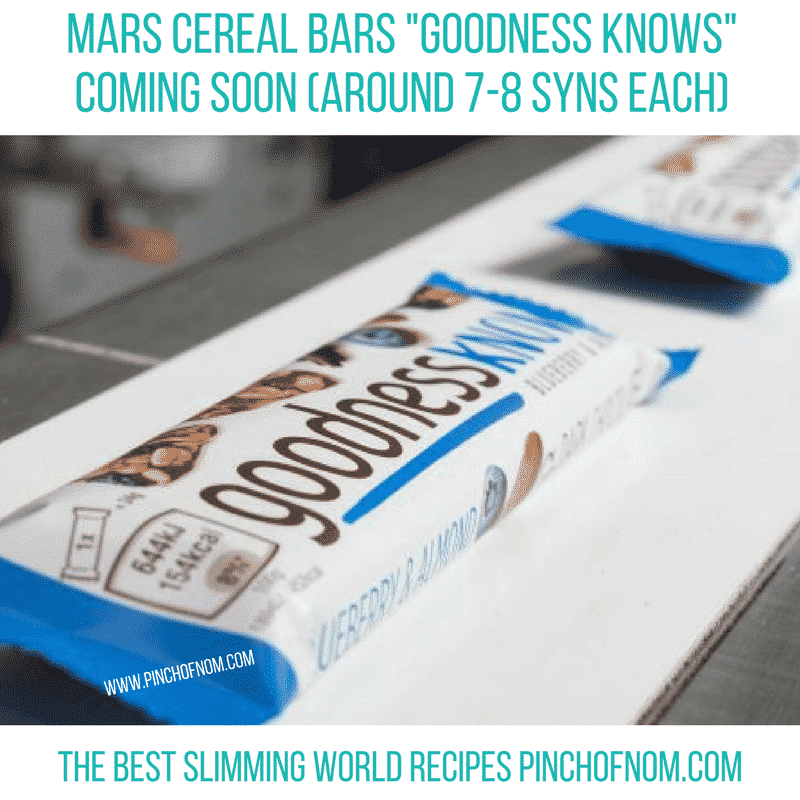 goodness knows bars - pinch of nom new slimming world essentials