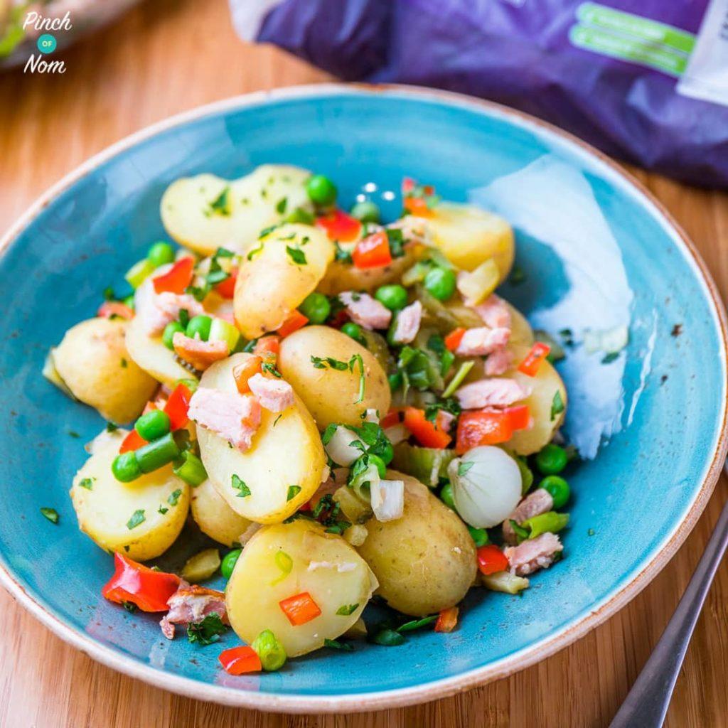 Pea, Pickle and Bacon Potato Salad pinchofnom.com