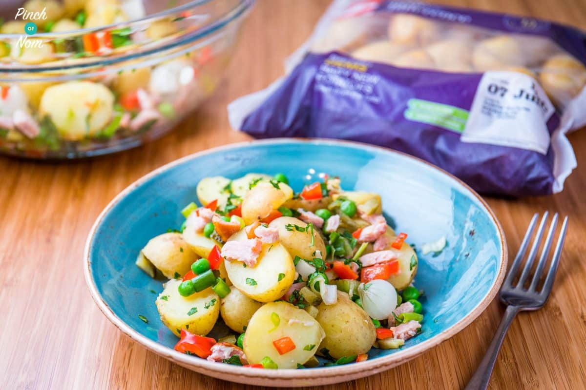 syn free pea, pickle and bacon potato salad | slimming world-1