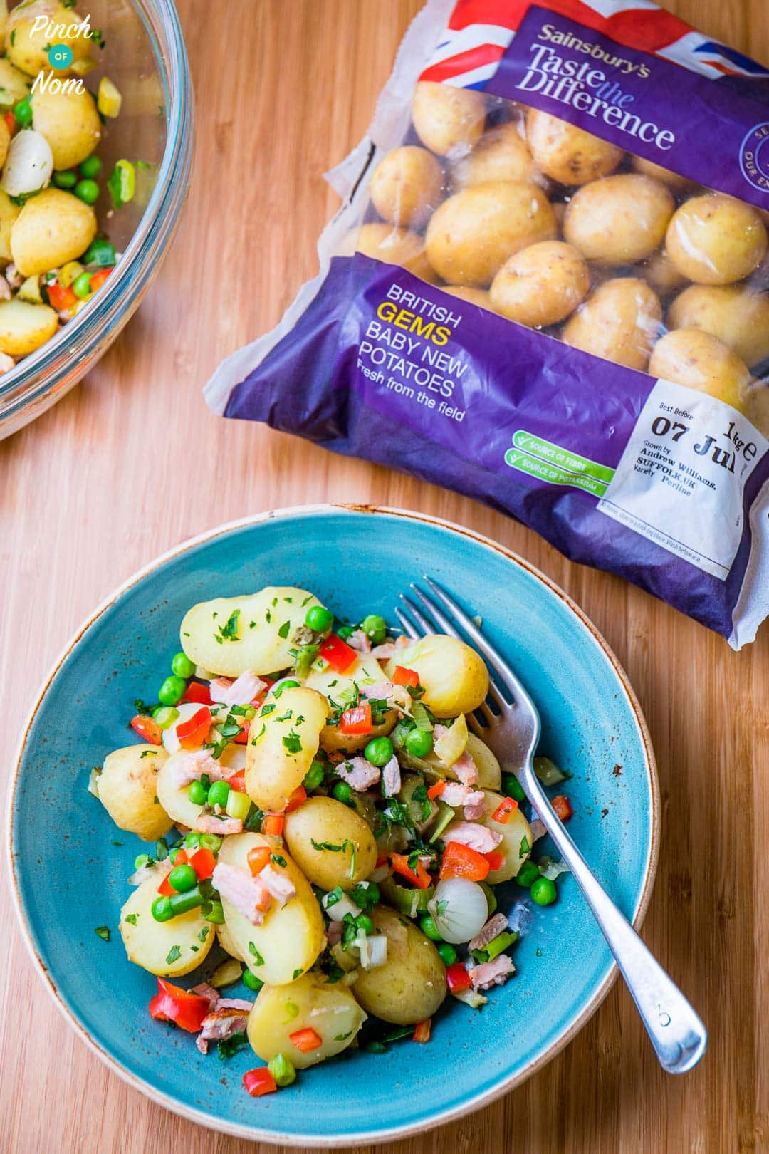 pea, pickle and bacon potato salad   slimming & weight watchers friendly