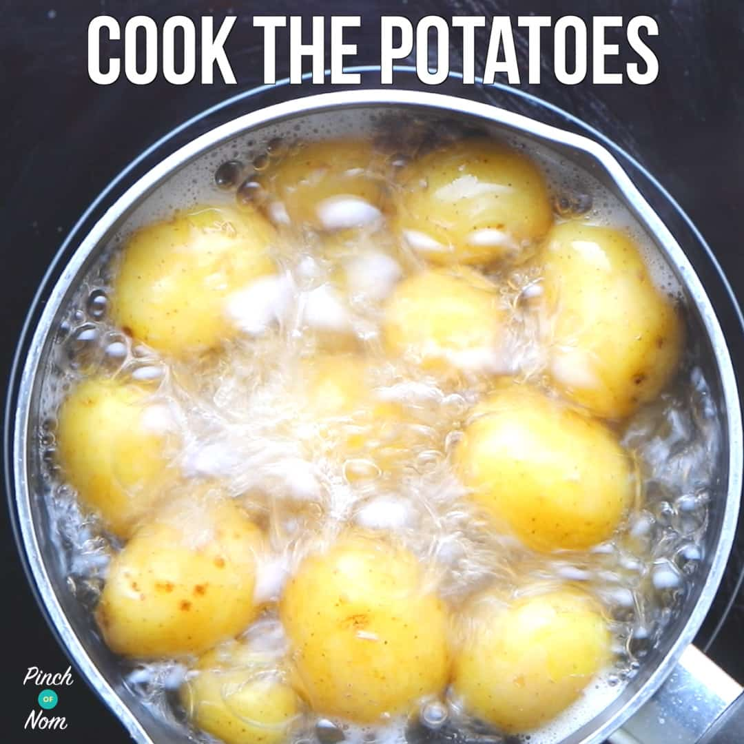 Boiling potatoes - Syn Free Pea, Pickle and Bacon Potato Salad | Slimming World