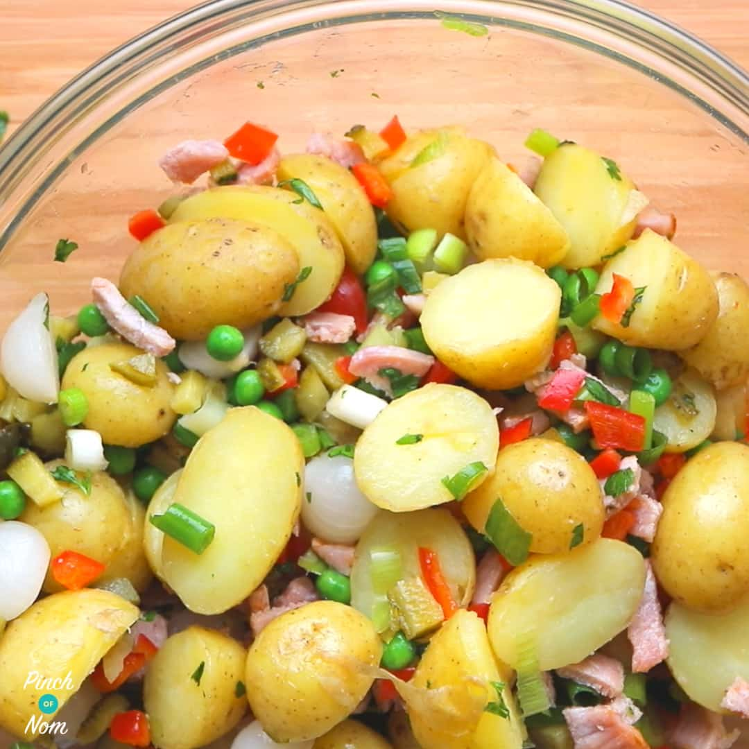 Mixing ingredients - Syn Free Pea, Pickle and Bacon Potato Salad | Slimming World