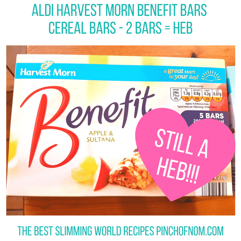 aldi benefit bars - pinch of nom new slimming world shopping essentials