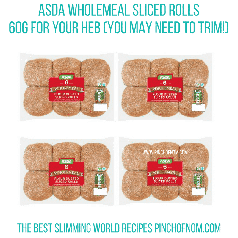 asda wholemeal sliced rolls - pinch of nom new slimming world shopping essentials