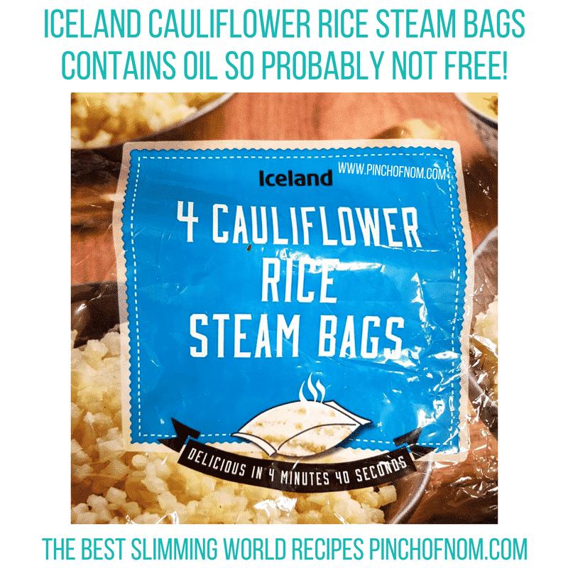 iceland cauli rice - pinch of nom new slimming world shopping essentials