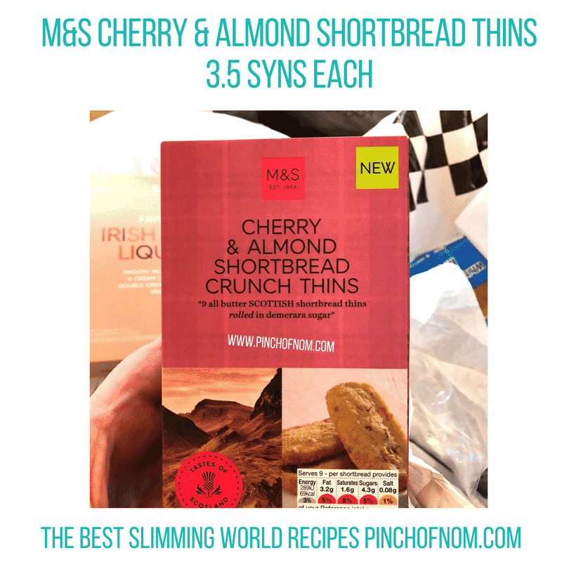 cherry and almond shortbread thins - pinch of nom slimming world shopping essentials