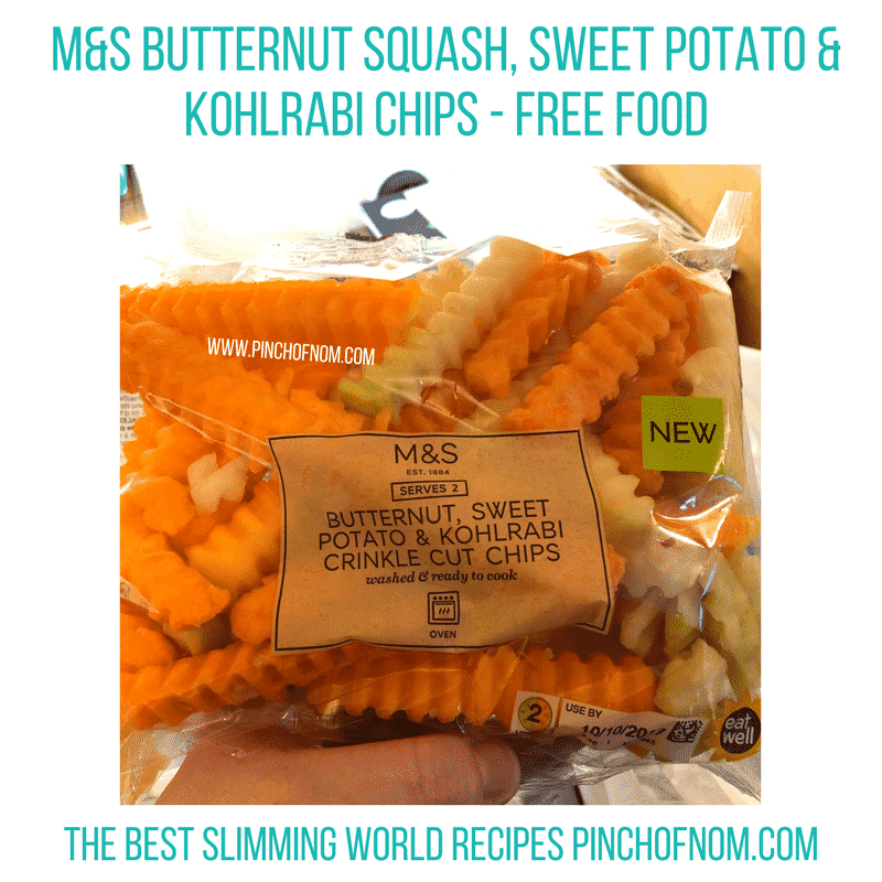 mands butternut squash sweet potato kohlrabi chips - pinch of nom slimming world shopping essentials