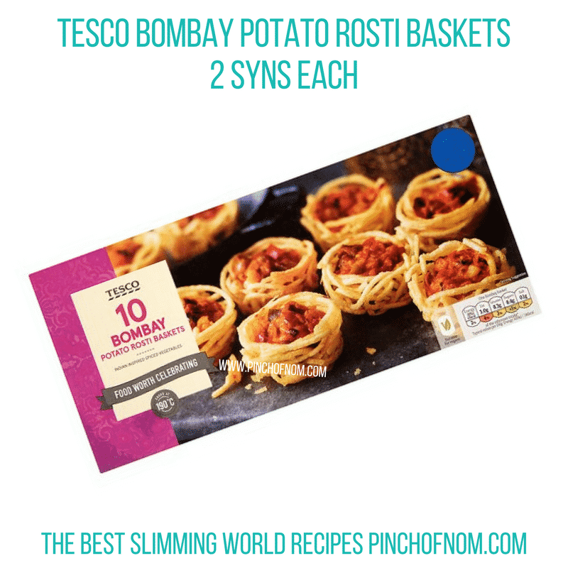 Tesco Bombay Potato Rosti Baskets - Pinch of Nom Slimming World Shopping Essentials