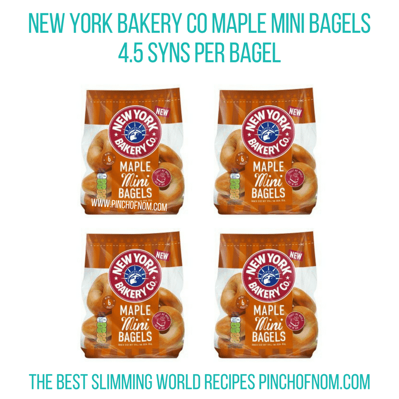 New York Bakery Co Mini Maple Bagels - Pinch of Nom Slimming World Shopping Essentials