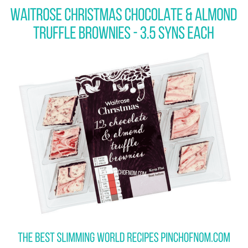 Waitrose Christmas Chocolate & Almond Truffle Brownies - Pinch of Nom Slimming World Shopping Essentials