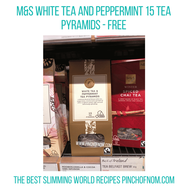 White Tea and Peppermint 15 Tea Pyramids - Pinch of Nom Slimming World Shopping Essentials