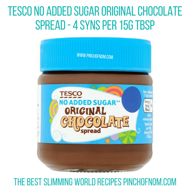 Tesco No Added Sugar Original Chocolate Spread - Pinch of Nom Slimming World Shopping Essentials