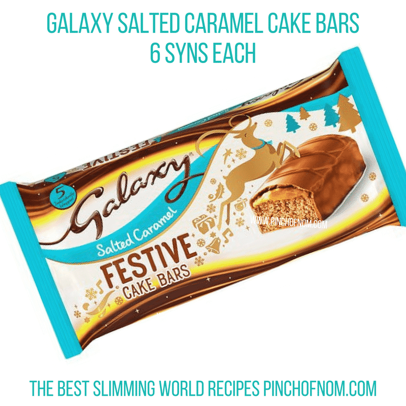 Galaxy Salted Caramel Cake Bars - Pinch of Nom Slimming World Shopping Essentials