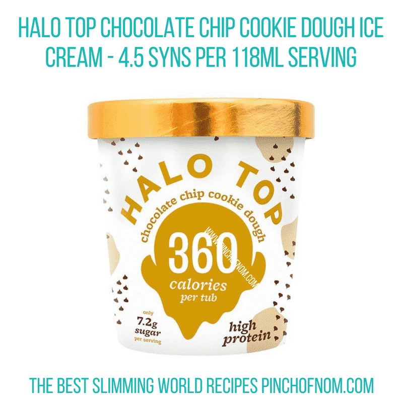 Halo Top Choc chip cookie dough - Pinch of Nom Slimming World Shopping Essentials