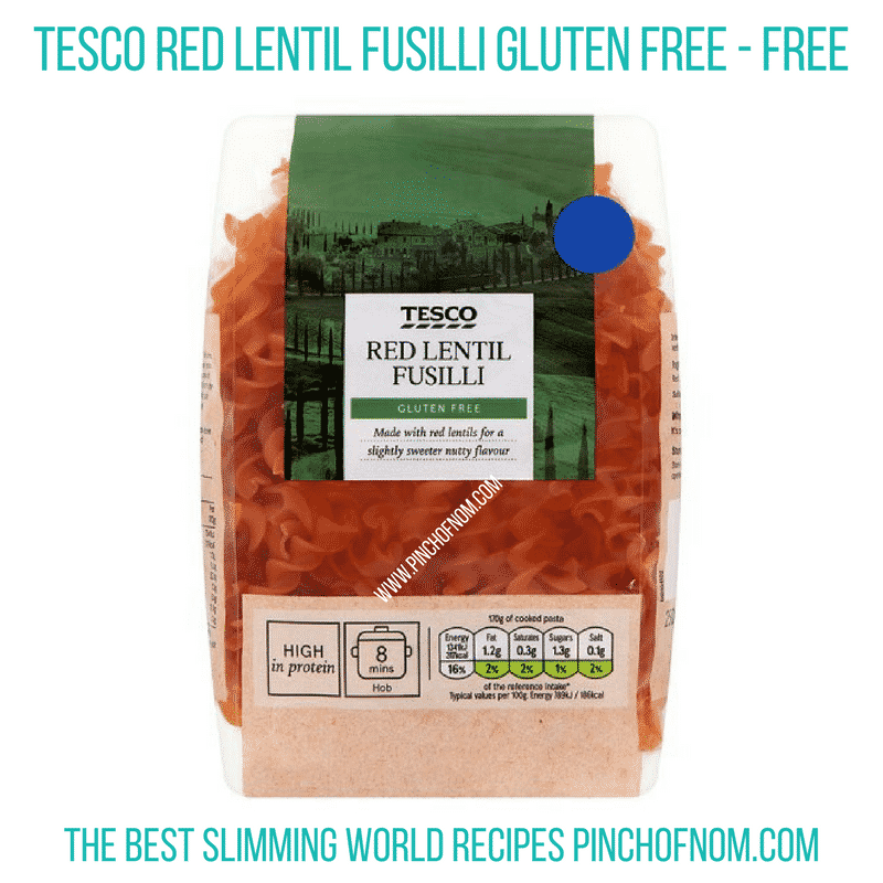 Red lentil fusilli - pinch of nom Slimming World Shopping Essentials