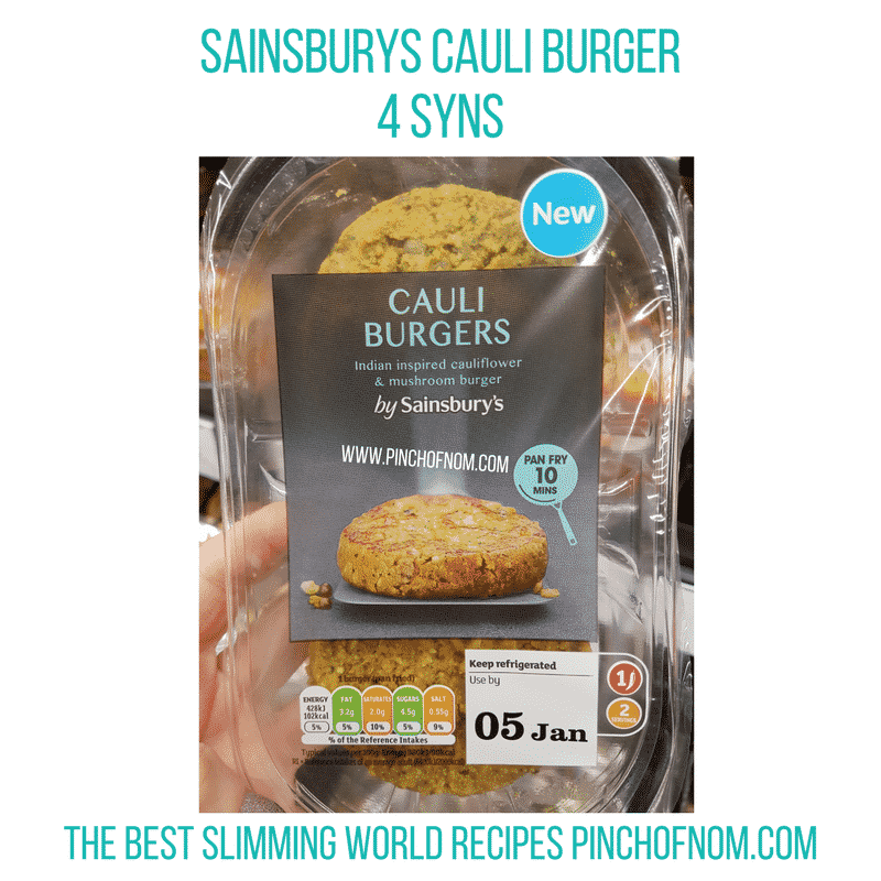 Sainsburys Cauli Burger - Pinch of Nom Slimming World Shopping Essentials