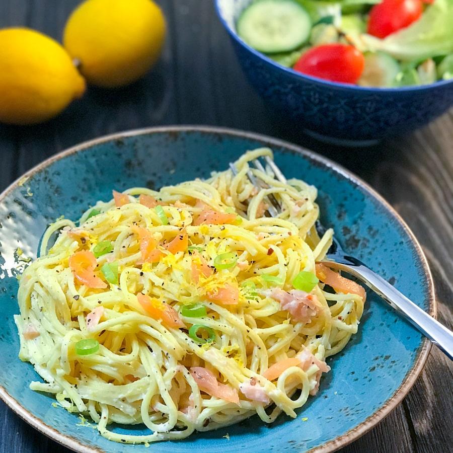 Creamy Smoked Salmon Spaghetti pinchofnom.com