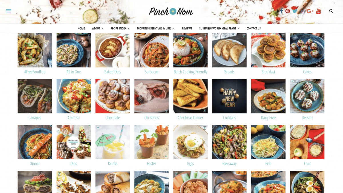 The Pinch Of Nom website in all it's glory