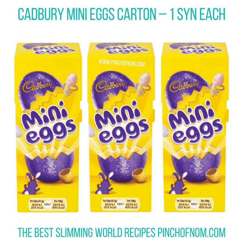 Cadbury mini eggs - Pinch of Nom Slimming World Shopping Essentials